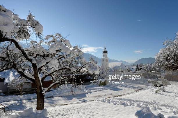 austria, tirol, seefeld, a tree covered by snow in the foreground of the wildermiemming village - ゼーフェルト ストックフォトと画像