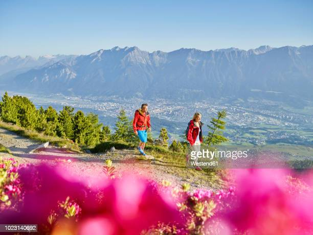 austria, tyrol, couple hiking the zirbenweg at the patscherkofel - innsbruck stock pictures, royalty-free photos & images