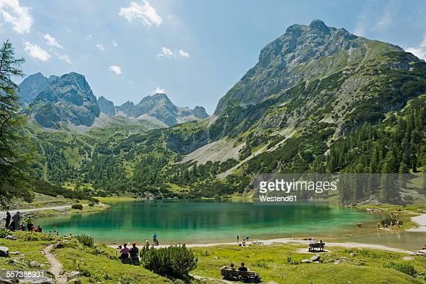 Austria, Tyrol, Ehrwald, Seebensee with Sonnenspitze