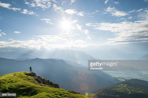 austria, tyrol, hiker - valley stock pictures, royalty-free photos & images