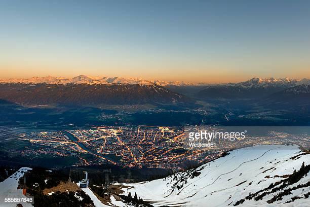 Austria, Tyrol, Innsbruck, cityscape at sunset