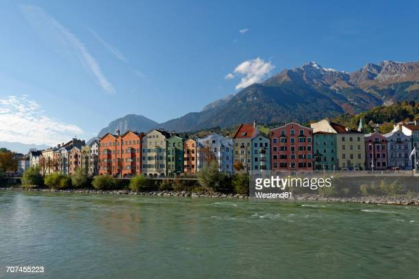 Austria, Tyrol, Innsbruck, colorful houses at Inn river