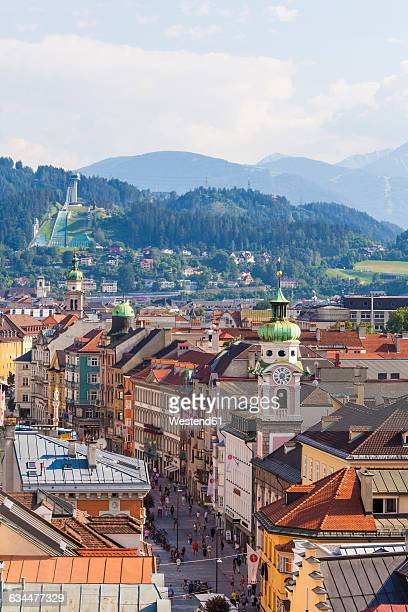 austria, tyrol, innsbruck, maria-theresia-strasse, pedestrian area, bergisel stadium, jump - インスブルック ストックフォトと画像