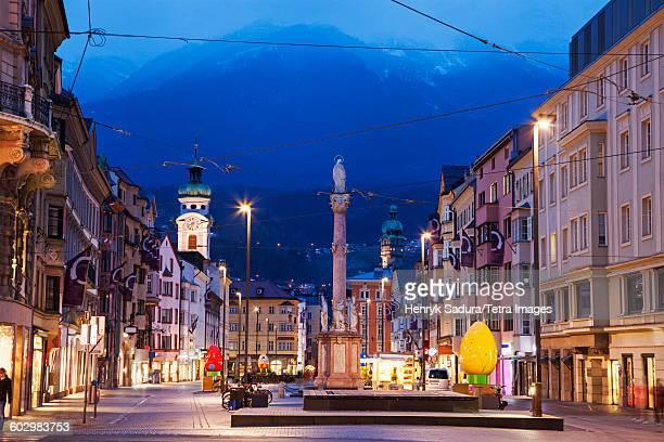 Austria, Tyrol, Innsbruck, Town square at dusk