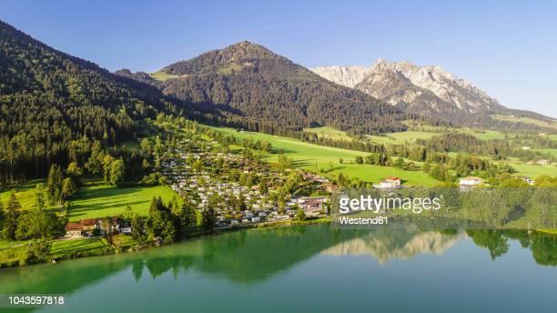 Austria, Tyrol, Kaiserwinkl, Aerial view of lake Walchsee