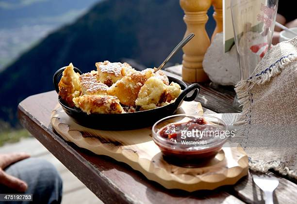 austria, tyrol, karwendel mountains, kaiserschmarrn with fruit sauce - austrian culture stock pictures, royalty-free photos & images