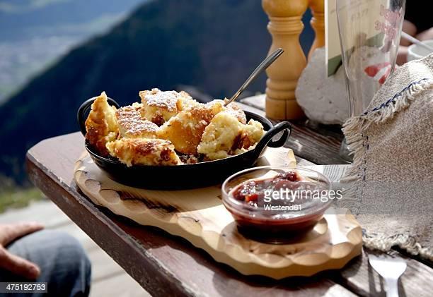 Austria, Tyrol, Karwendel mountains, Kaiserschmarrn with fruit sauce