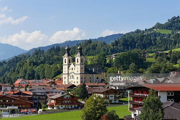Austria, Tyrol, Kitzbuehel Alps, Brixen Valley, Hopfgarten with parisch church