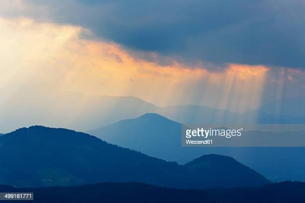 Austria, Tyrol, Kitzbuehel Alps, View from Hohe Salve, rain clouds