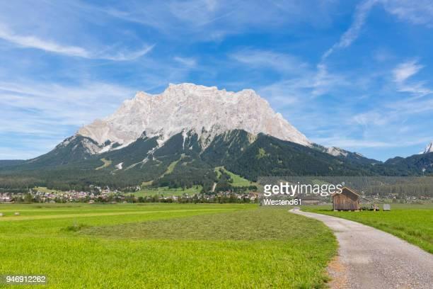 Austria, Tyrol, Lermoos, Ehrwalder Becken, View to Ehrwald and Zugspitze