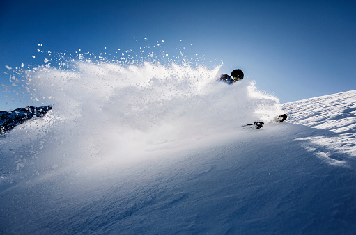 Austria, Tyrol, Mutters, skier on a freeride in powder snow - gettyimageskorea