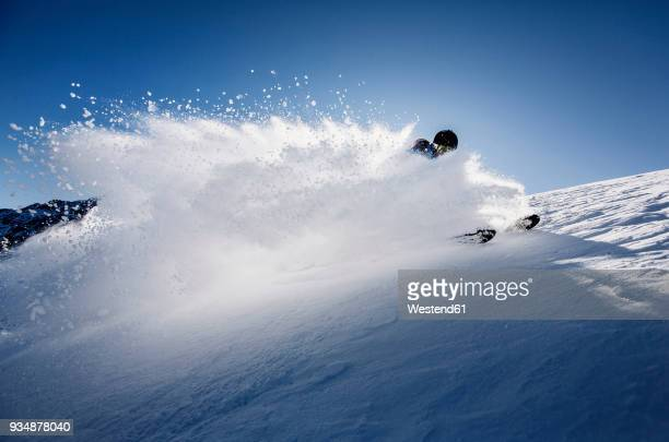 austria, tyrol, mutters, skier on a freeride in powder snow - powder snow stock pictures, royalty-free photos & images