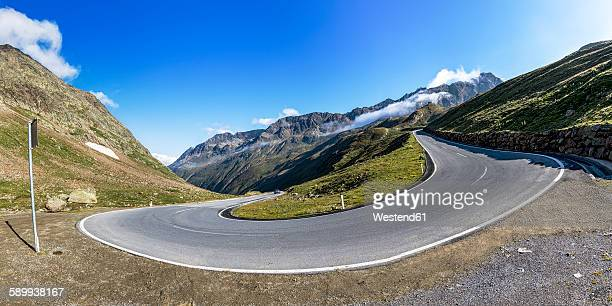 austria, tyrol, oetztal, mountain pass timmelsjoch - hairpin stock pictures, royalty-free photos & images