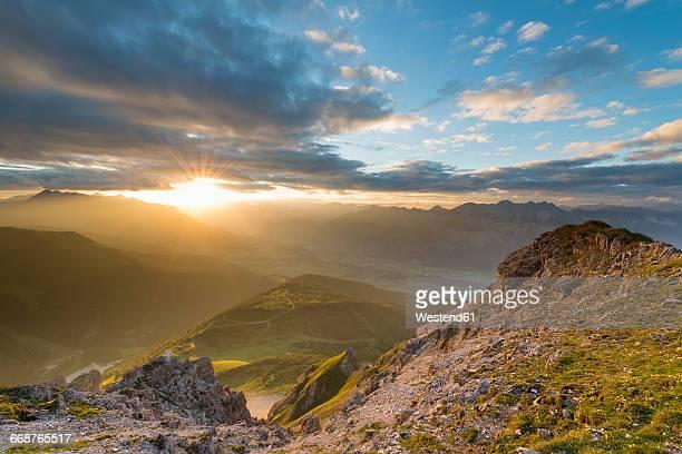 Austria, Tyrol, Stubai Alps, Saile at sunset