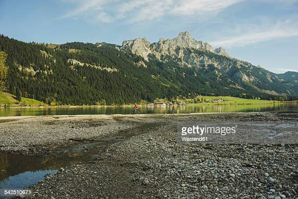austria, tyrol, tannheimer tal, mountainscape with lake - gravel stock pictures, royalty-free photos & images