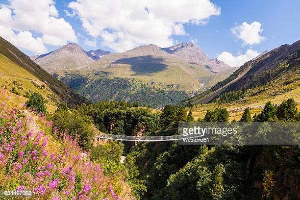 Austria, Tyrol, Vent Valley near Vent, suspension bridge
