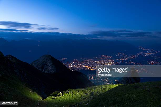 Austria, Tyrol, View of Innsbruck in the evening
