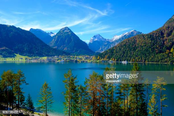 austria, tyrol, view to achensee with pertisau and karwendel - karwendel mountains stock pictures, royalty-free photos & images