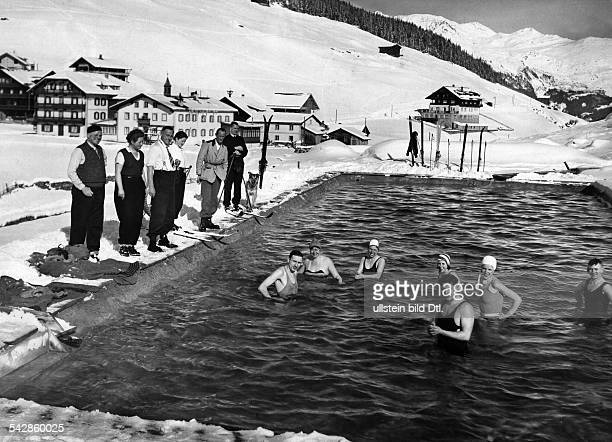 Austria Tyrol Winter delight Bathing in a hot pool in Hintertux which lies in a side valley of the Zillertal valley Tyrol Austria Photography...