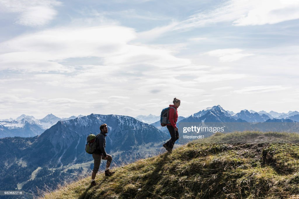 austria tyrol young couple hiking in the mountains ストックフォト