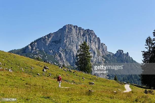 Austria, Upper Austria, Mature woman walking on Stubwieswipfel Mountain