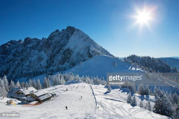 Austria, Upper Austria, Salzkammergut, Gosau, Ski area Dachstein-West, ski slope against the sun, Zwieselalm, Sonnenalm with view to Gosaukamm, Dachstein massif