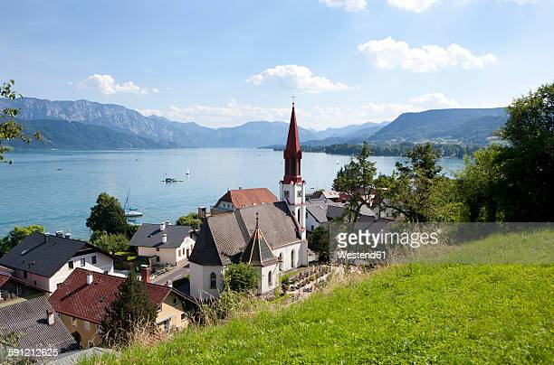 Austria, Upper Austria, view of Attersee at Lake Attersee