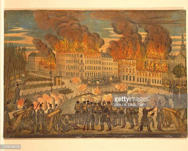 Austria Vienna 19th century The Fire of October 28 1848 Lithograph