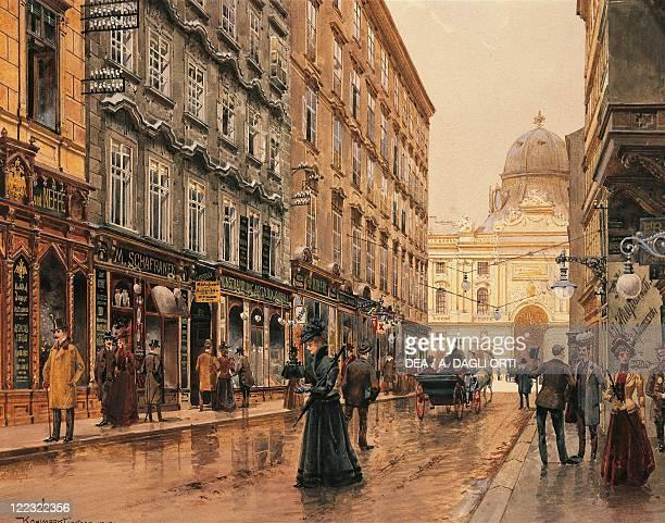 Austria - Vienna - 20th century. A Corner of the Volkmarkt. Watercolor.