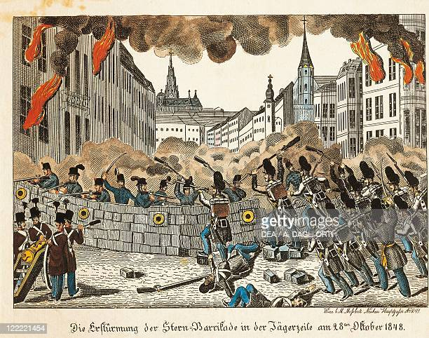 Austria Vienna Barricades in Jagerzeile on October 28 color lithograph