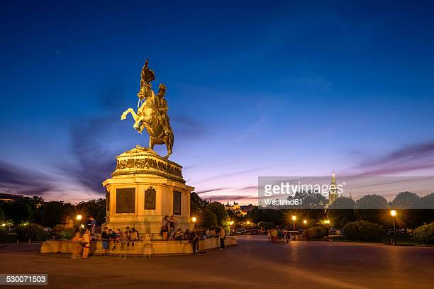 Austria, Vienna, Equestrian statue of Archduke Charles at Heldenplatz in the evening