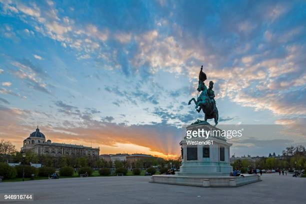 Austria, Vienna, Equestrian statue of Archduke Charles at Heldenplatz in the evening