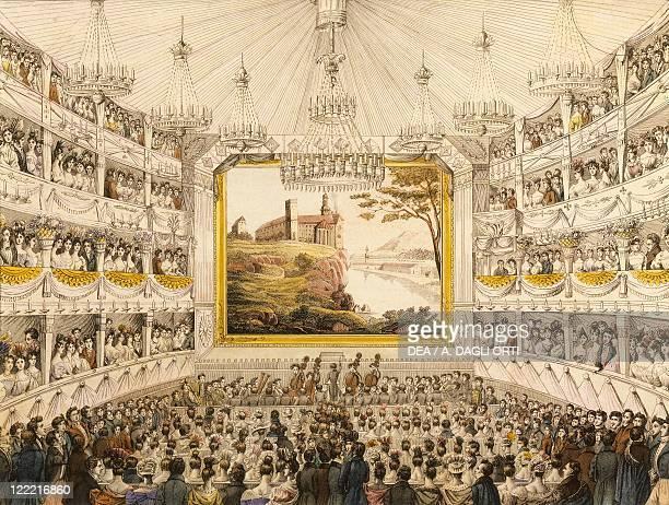 Austria Vienna Interior of the Theater an der Wien watercolored print by JC Schoeller