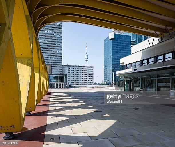 Austria, Vienna, modern buildings in Donau City, Saturn Tower, Austria Center Vienna, Donauturm and Mischek Tower
