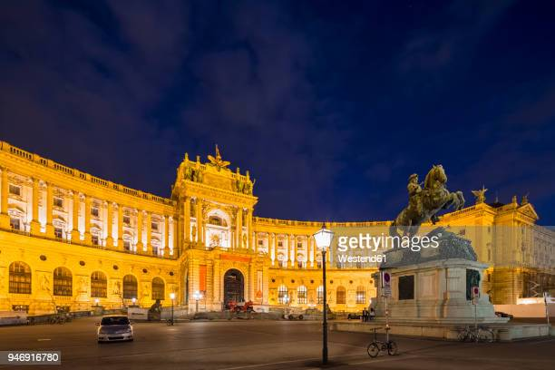 austria, vienna, neue hofburg part of hofburg palace with monument prince eugen in the foreground - austria stock pictures, royalty-free photos & images