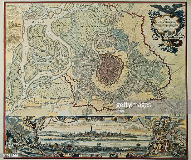 Austria Vienna Plan of the walled city with Prater and the Danube River Engraving 1720