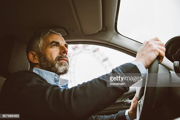 Austria, Vienna, portrait of man driving car