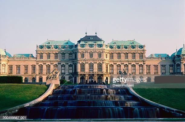 Austria, Vienna, Schloss Belvedere reflected in pond
