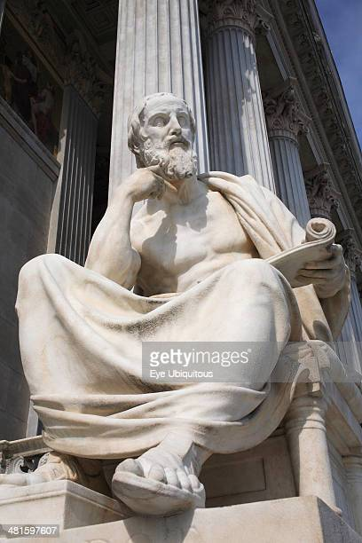 Austria, Vienna, Statue of the Greek philosopher Herodotus in front of the Parliament building.