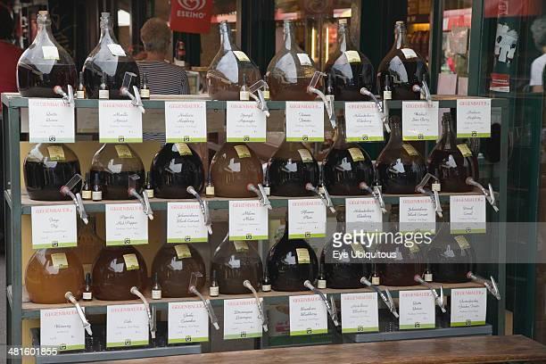 Austria Vienna The Naschmarkt Display of Federweisser wine in the fermentation stage known as Sturm in Austria