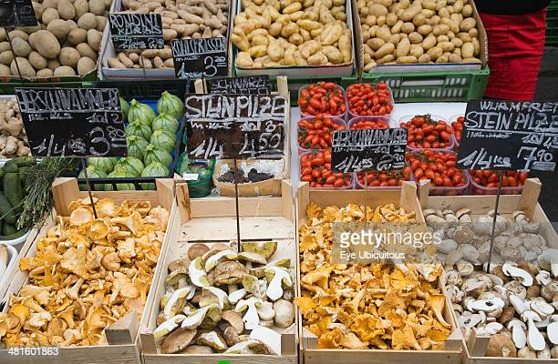 Austria Vienna The Naschmarkt Fresh produce stall with display including potatoes mushrooms tomatoes and squash