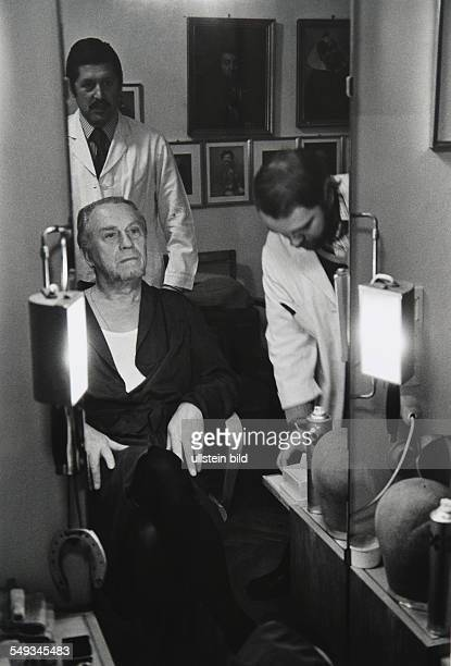 Austria Vienna theatre Burgtheater actor Werner Hinz in the mask getting dressed for Don Carlos