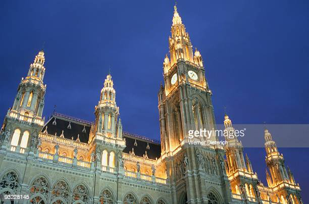 Austria, Vienna, Town Hall at night