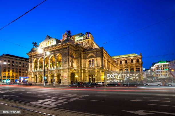 austria, vienna, vienna state opera, blue hour - vienna state opera stock pictures, royalty-free photos & images
