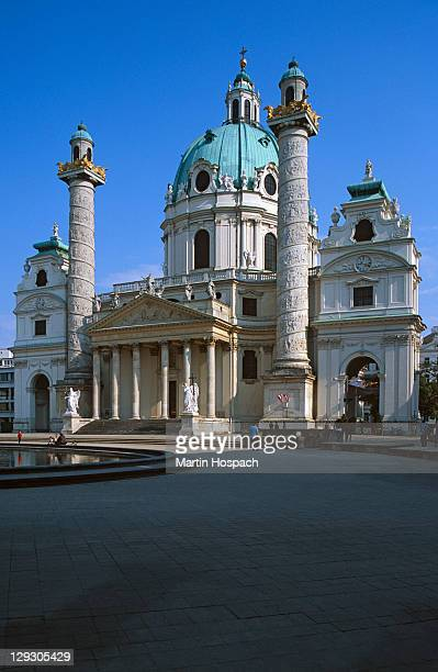 Austria, Vienna, view of front of St Charles Borromeo church (or Karlskirche)