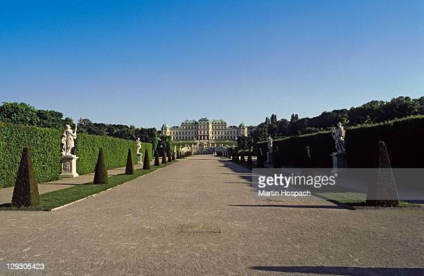 Austria, Vienna, view of long pathway entrance to Upper Belvedere palace