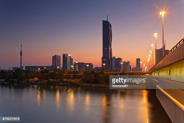 Austria, Vienna, view to Donau City with DC Tower at twilight