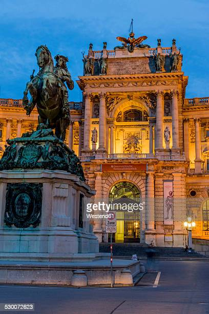 Austria, Vienna, view to lighted Hofburg Palace at twilight