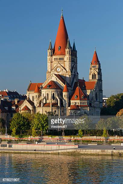 austria, vienna, view to st. francis of assisi church - vienna austria stock pictures, royalty-free photos & images