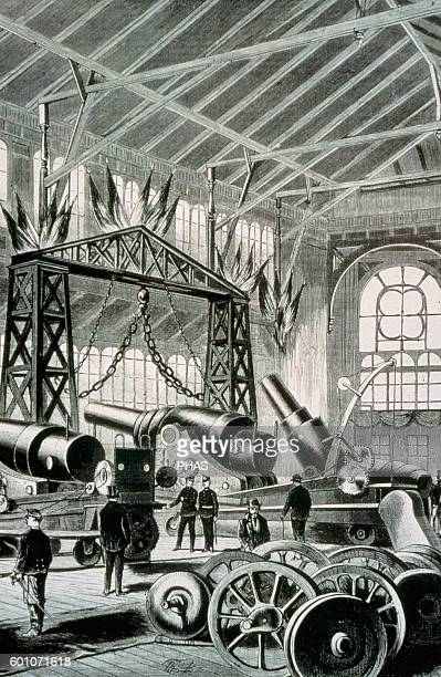 Austria Vienna World Exposition 1873 Krupp Pavilion Interior Engraving